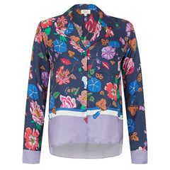 Melanie Press Collection Jodie silk floral macro navy blouse