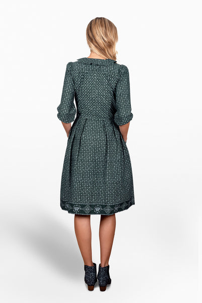 Cotton twill dark green  print Sonnet Dress