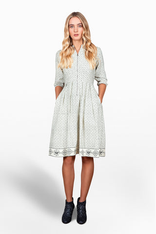 Cotton Twill Venn print Sonnet dress in cream
