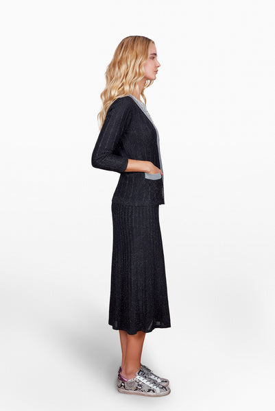 Dica Lurex Cardigan in Black