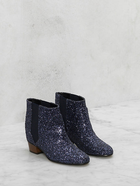 Golden goose Dana blue glitter boot with wood heel
