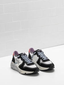 Running sole black white silver lilac sneaker