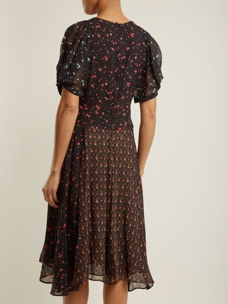 Masscob floral print panelled silk dress