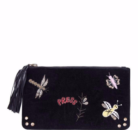 Velvet pouch with insect embroidery.
