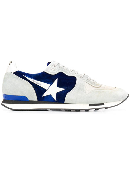 Golden Goose 'running' sneaker with velvet and blue suede