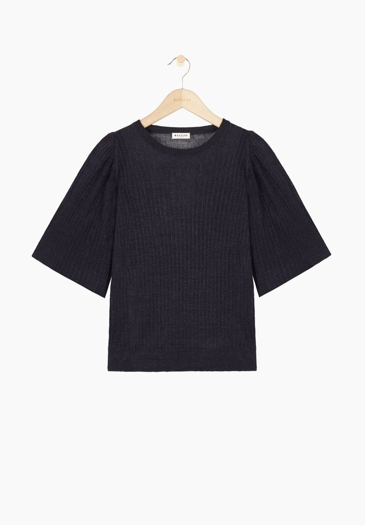 Masscob semi-sheer round-necked ribbed knit linen sweater with angel wing sleeves in navy