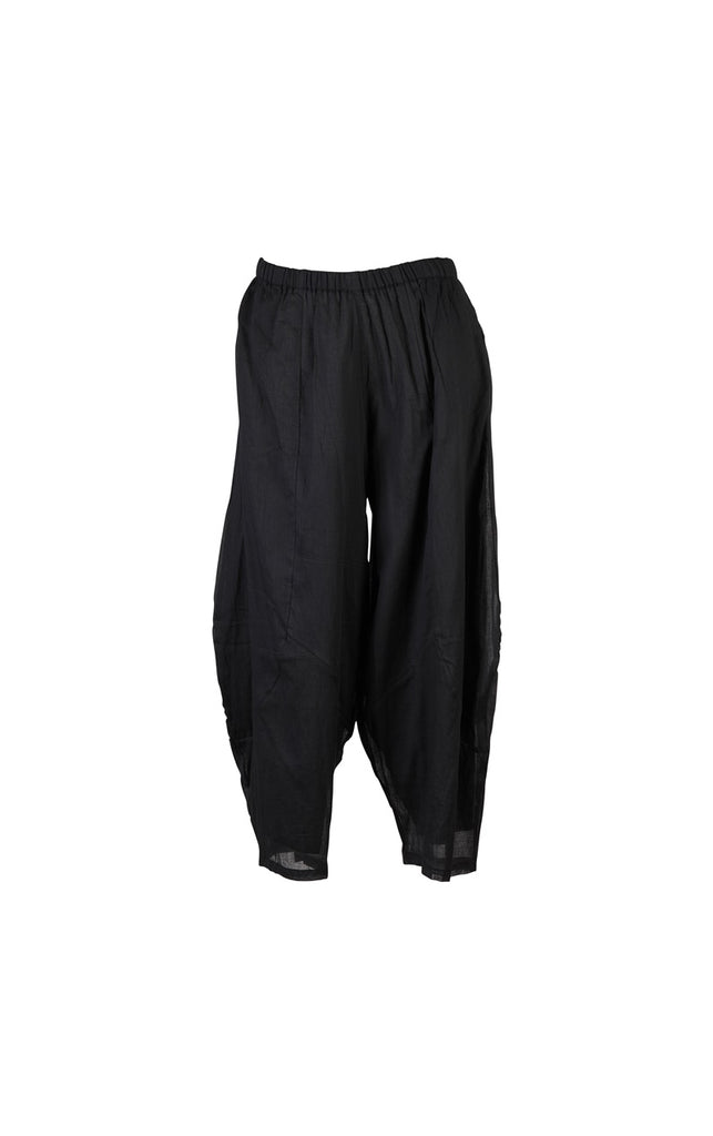 black cotton pants with volume and elastic waist