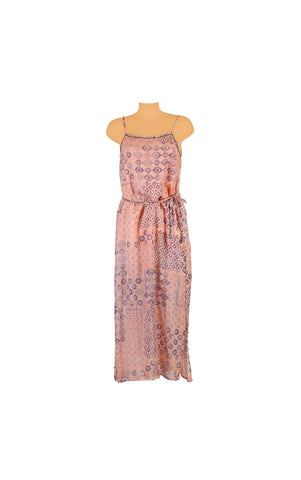 Dress with straps in pink and blue cotton