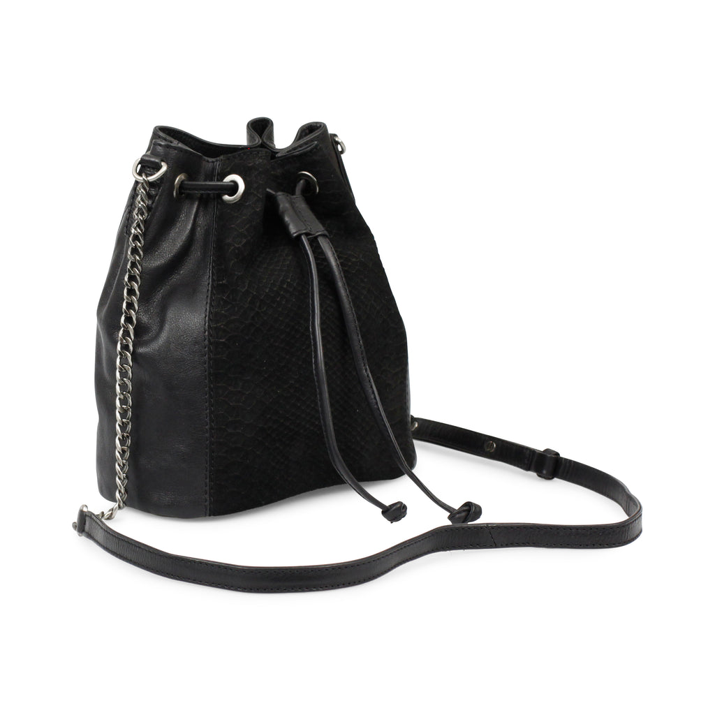 markberg mocca black suede and stamp bucket bag