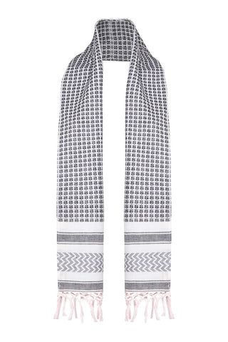 Sue Scarf in Black/White Check by Melanie Press