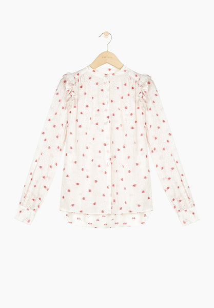 masscob silk shirt off white with red/pink dot
