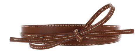 belt which ties around in tan leather with contrast top stitching