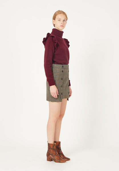 MASSCOB burgundy knit polo with ruffle