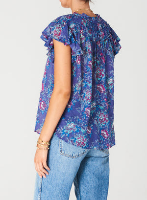 Alma blue-rose print short-sleeve frill shirt