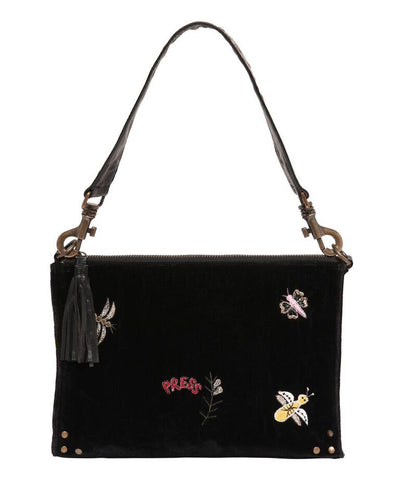 Larger velvet bag with insect embroidery and studded leather strap
