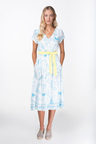 Maria white print cotton silk dress