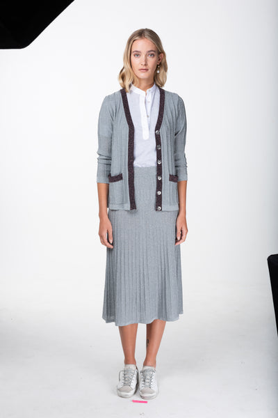 cardigan by melanie press grey lurex