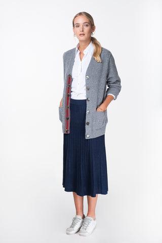 melanie press grey cardigan with stripe trim