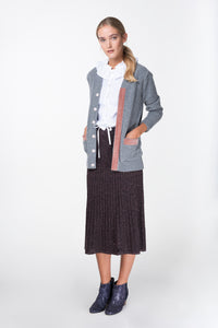 grey wool cardigan with pink velvet trim