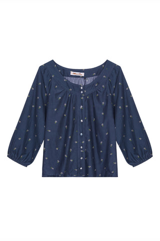 Eve cotton silk daisy shirt in navy blue