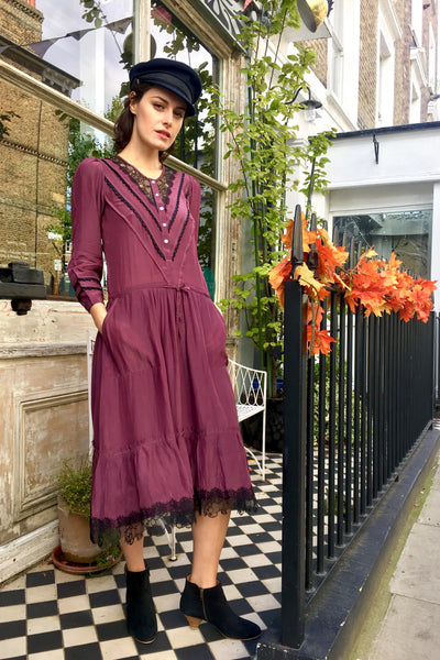 Melanie Press Delhi Dress in Burgundy