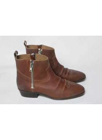 golden goose viand brown leather ankle boots