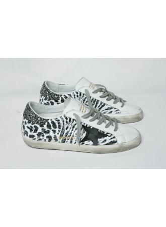 Golden goose black and grey leo print superstar sneakers