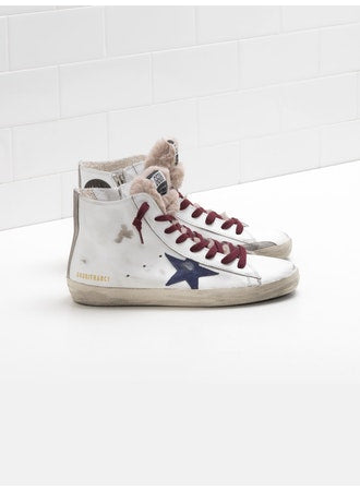 francy white shearling golden goose