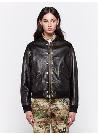 Scarlett black leather Bomber jacket