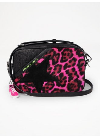 Star crossbody bag in pink leopard print