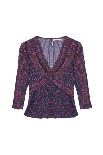 melanie press gwen spot silk print twist top