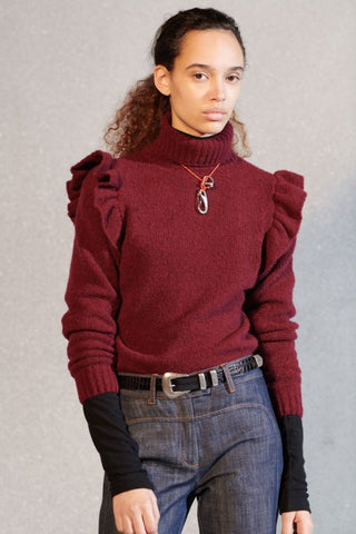 Burgundy knit polo with ruffle