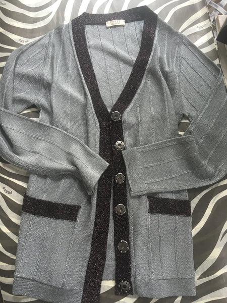 Dica grey lurex cardigan in Grey