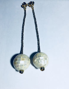Dueci Italian pearl disco ball drop earrings