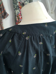 blue navy cotton silk blouse low neckline with daisy print