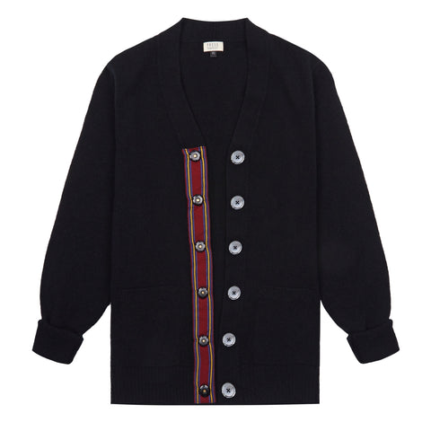 Stripe Trim Lambswool Cardigan in Black