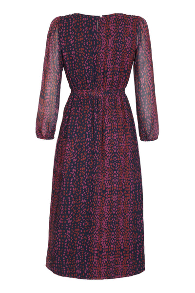Melanie Press collection mary dress in dark leo print
