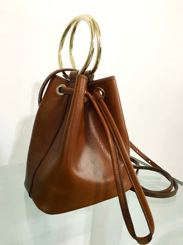 Maison Boinet Leather Crossbody Bag in Cognac