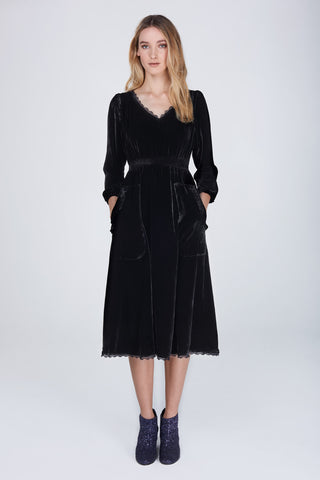 Silk velvet black Mary dress