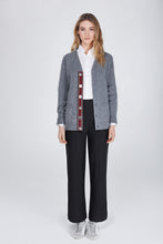 Load image into Gallery viewer, stripe ribbon on grey lambswool cardigan