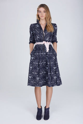 Song dress in bias-cut printed cotton twill