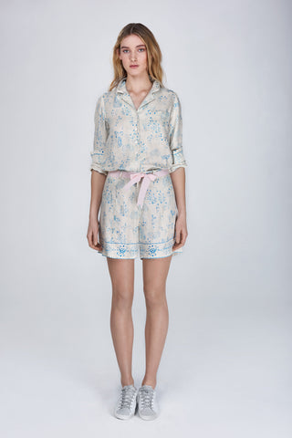 Miss shorts in printed silk twill