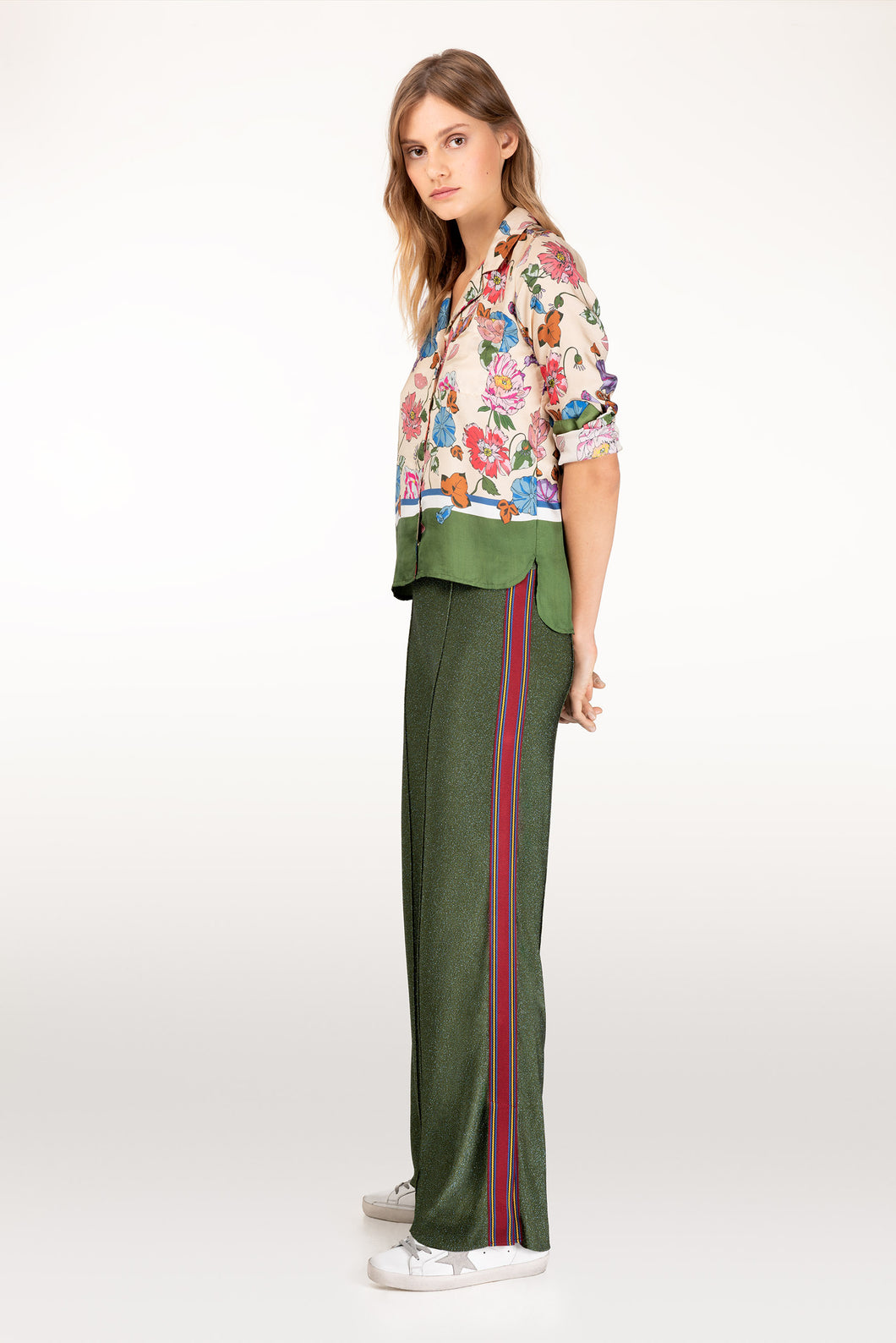 Cressida green lurex trousers