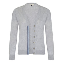 Load image into Gallery viewer, Melanie Press Grey merino silver blue cardigan