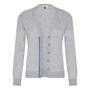 Melanie Press Grey merino silver blue cardigan