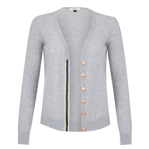 Melanie Press Merino grey navy pink stripe cardigan