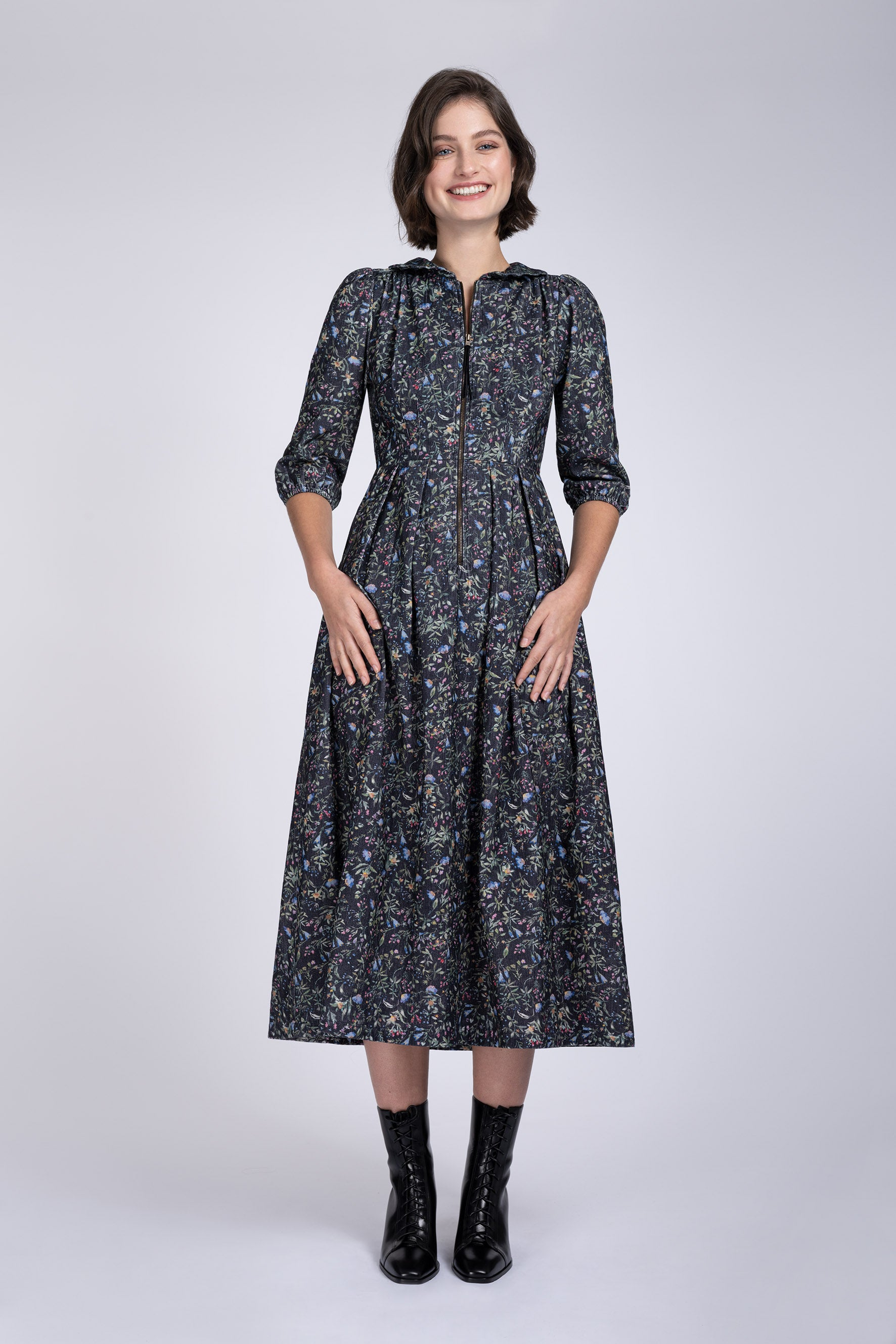 Sonnet Melanical print blueberry cord dress