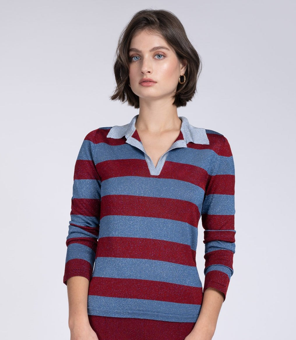 Lurex red & blue rugby knit top