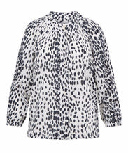 Load image into Gallery viewer, Signature Melanie Press blEve blouse in black & white leopard optic