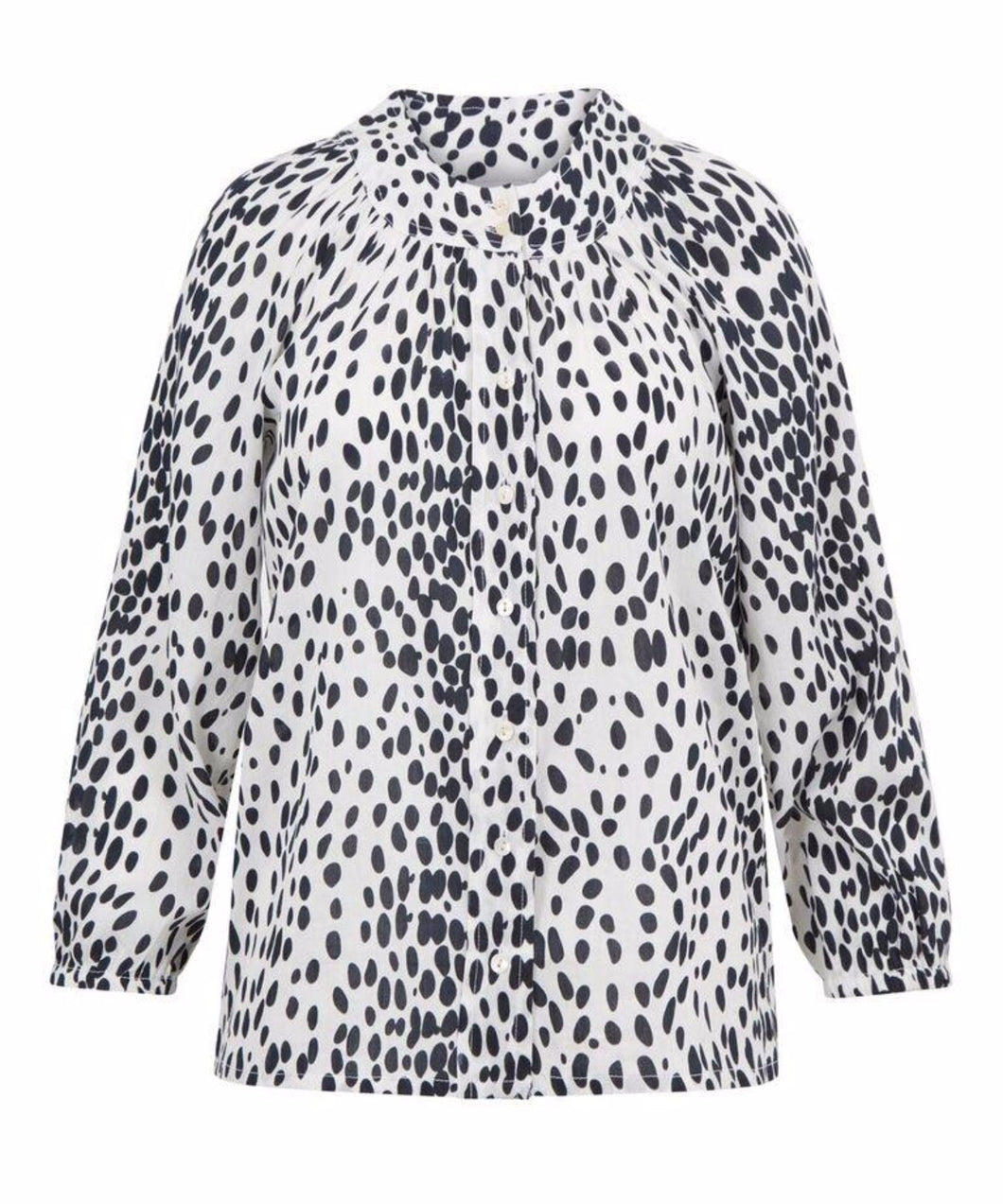 Signature Melanie Press blEve blouse in black & white leopard optic